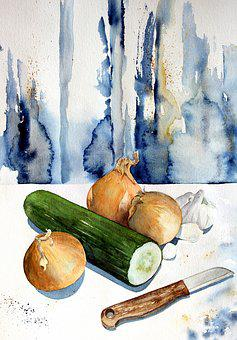 Watercolour, Painting, Art, Watercolor, Cucumber, Onion