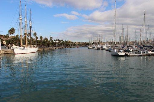 Port, Barcelona, Sea, Blue, Boat, Browse, Sailboat