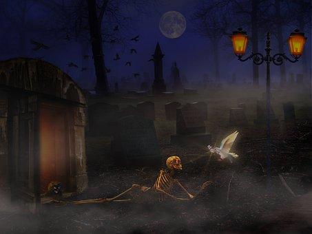 Skeleton, Cemetery, Hope, Death, Creepy, Bone, Weird
