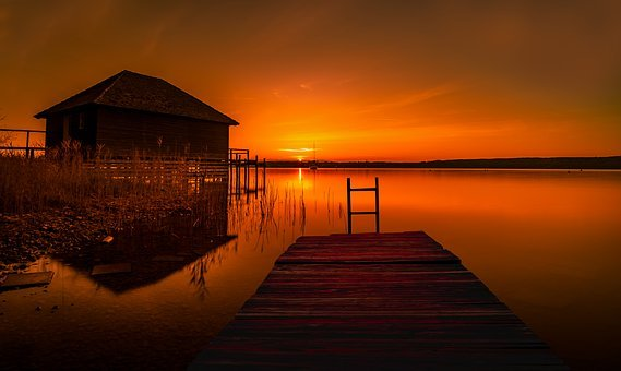Landscape, Nature, Sunset, Of Course, Lake, Sky, Water