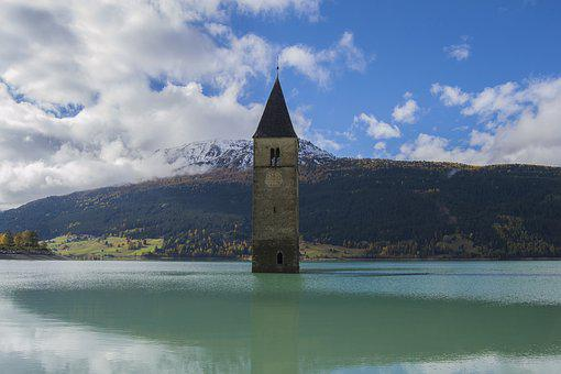 Lake, Steeple, South Tyrol, Clock Tower, Sunken Church