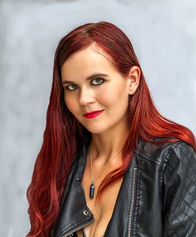 Roman, Woman, Red Hair, Model, Black Leather Jacket