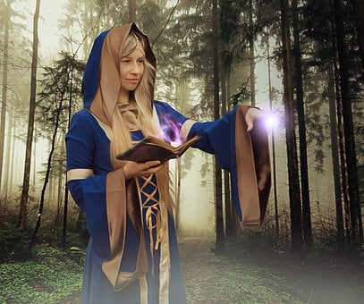 Sorceress, Spell, Magic Grimoire, Forest, Witch, Druid