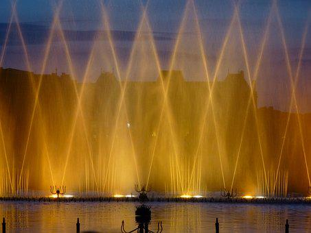 Lunéville, Evening, Show, Water Jets, Light
