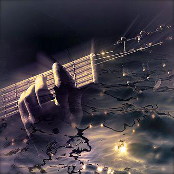 Cd Cover, Guitar, Water, Light Reflections, Fantastic