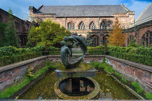 Chester Cathedral, Architecture, Statue, Garden