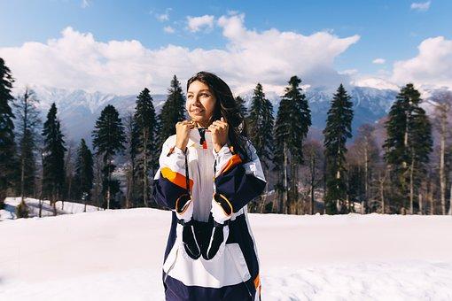 Snowboard, Girl, Mountains