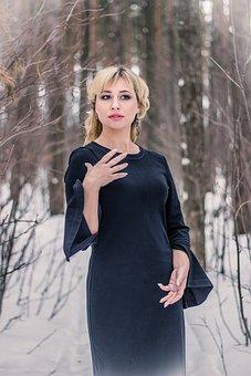 Forest, Black Dress, Gothic, Gloomy, Emotions, Gestures