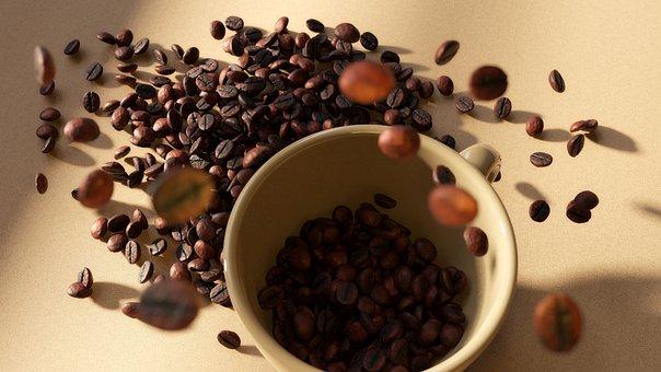 Coffee, Cup, Table, Grain, Coffee Beans, Roasted Coffee