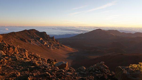 Sunrise, Volcano, Hawaii, Maui, Haleakala, Cloud