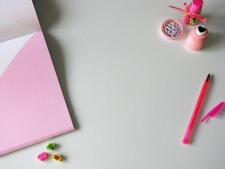 Desk, White, Pink, Home Office, Blogging, Feminine