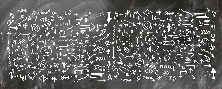 Arrows, Board, School, Blackboard, Form, Many