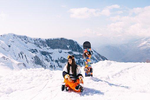 Girl, Mountains, Photoshoot, Mountain, Snowboard