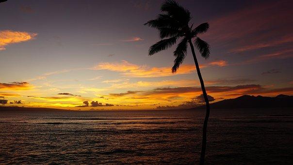 Maui, Sunset, Hawaii, Nature, Landscape, Sea, Orange