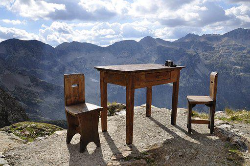 Table, Mountain, Excursion, Chairs