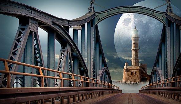 Bridge, Moon, Lighthouse, Planet, Technology, Science