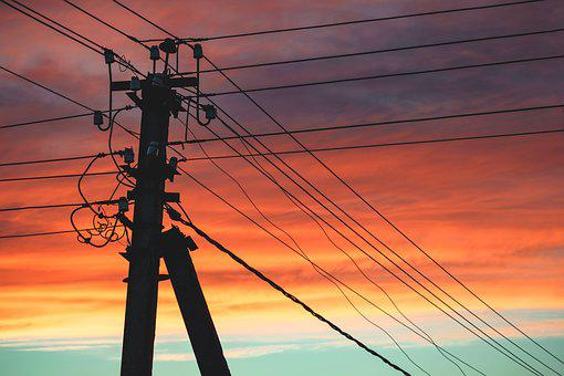 Post, Sky, Evening, Sunset, Wire, Electricity, Clouds