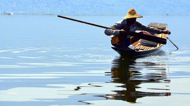 Fisherman, Fishing, Inle Lake, Myanmar, Burma