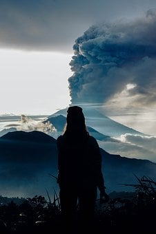 Girl, Mount, Agung, Smoke, Bali, Nature, Person, Batur