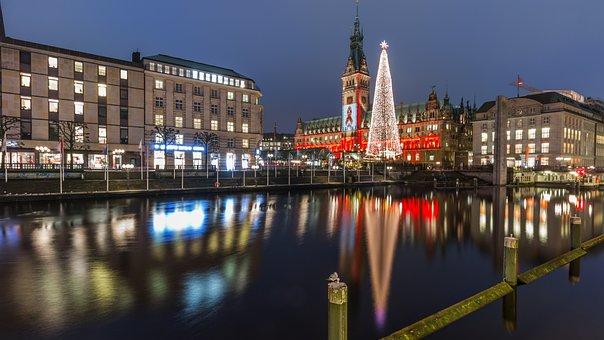 Christmas Market, Hamburg, Lights, Night, Mood