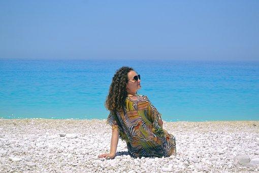 Girl, Seaside, Greece, Island, Kefalonia, Myrtos, Woman