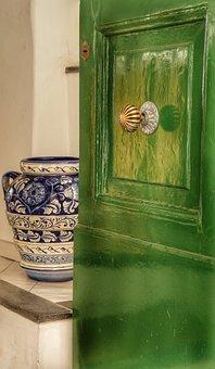 Door, Green, Porcelain, Chinese, Vase, Brass, Knob