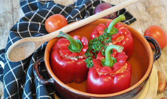 Peppers, Papria, Prepare, Red, Filled, Raw, Minced Meat