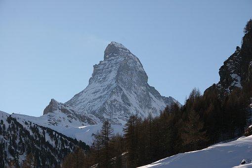 Matterhorn, Winter, Mountain, Zermatt, Switzerland