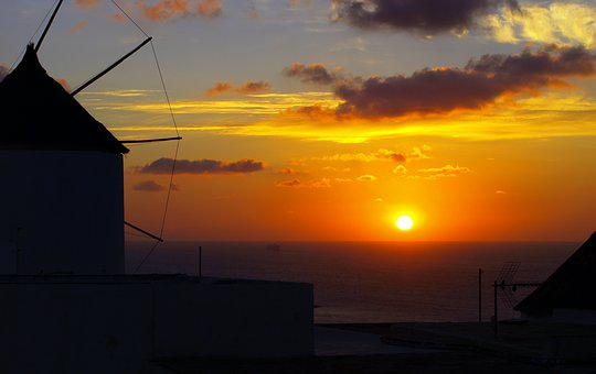 Sunset, Mill, Natural, Summer