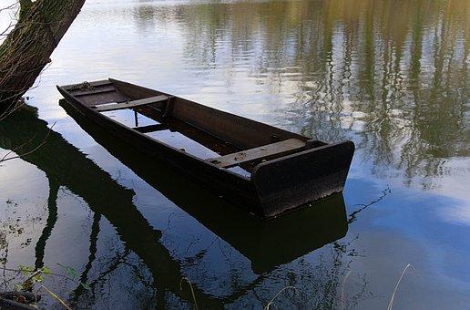 Boot, Paddle Boat, Old, Broken, Underwater, Water