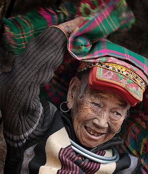 Portrait, Old People, Scarf, Ethnic Pussy, Vietnam
