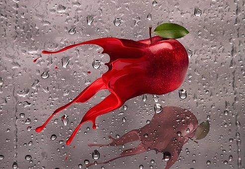Apple, Ink, Splash, Red Apple, Design, Ink Splash