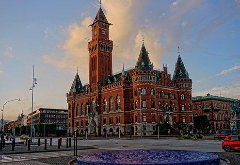 Helsingborg, Sweden, Town Hall, Architecture, Home
