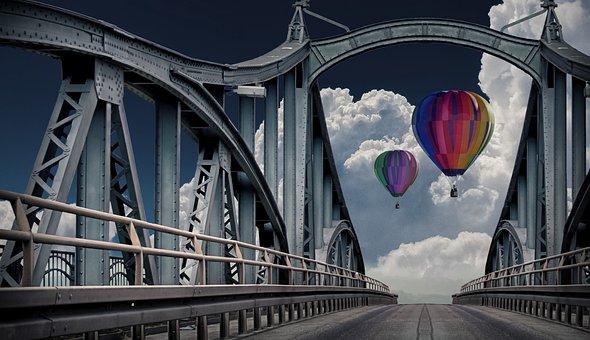 Balloon, Bridge, Travel, Hot Air Balloon Ride