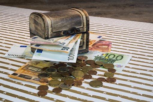 Money, Bank Note, Coins, Euro, Treasure, Treasure Chest
