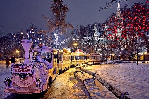 Vienna, Christmas Market, City Hall Park, Park, Winter