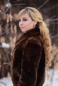 Fur Coat, Long Hair, Blonde, Winter, Hair, Model