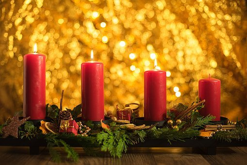 Advent, Third, Christmas, Candles, Candlelight, Light