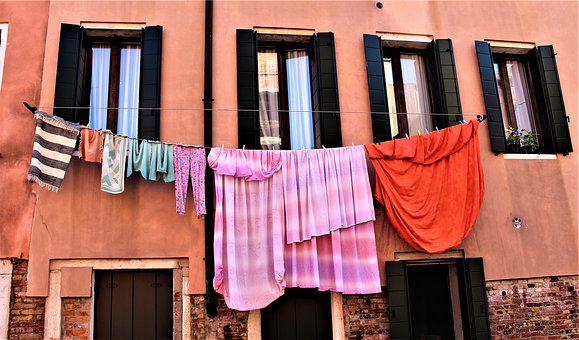 Washing, Window, Clothesline, Venice, Italy, Wall