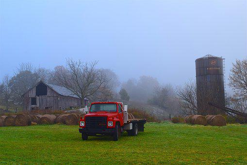 Farm, Truck, Silo, Rustic, Country, Grass, Green, Fog