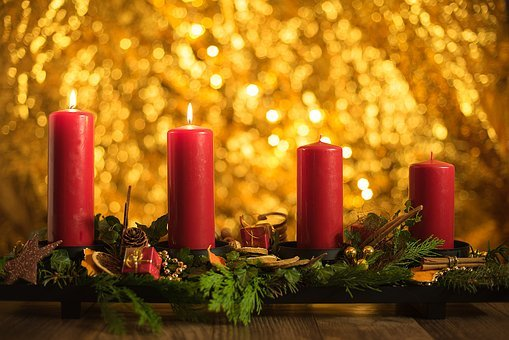 Advent, First, Christmas, Candlelight