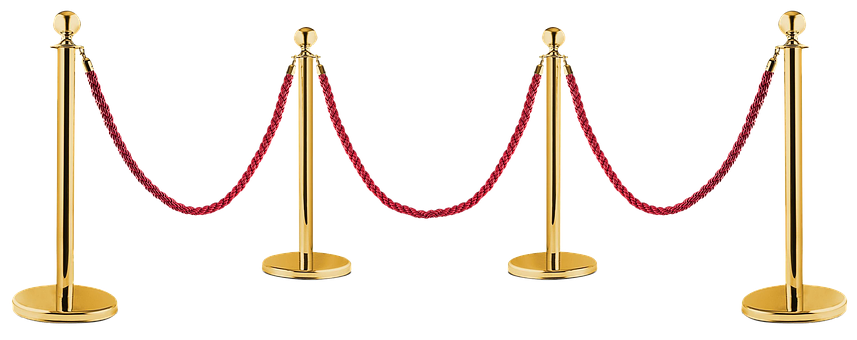 Demarcation, Gold, Red, Rope, Isolated, Barrier