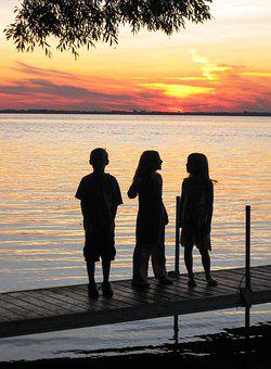 Group Young, Silhouettes, Sunset, Children, Youth, Lake