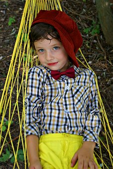 Boy, Kids, Summer, Hammock, Cap, Shirt, The Bow Tie