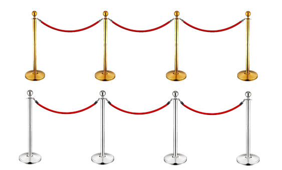 Demarcation, Gold, Silver, Red, Rope, Isolated, Barrier