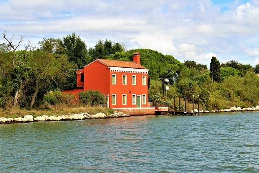 Villa, Water, Lagoon, Italy, House, Architecture