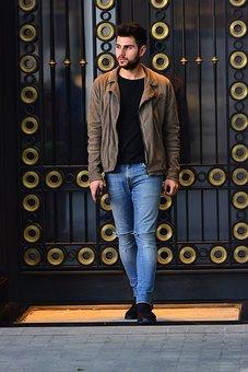 Model, Door, Light, Jacket, Pants, Shoes, Jean