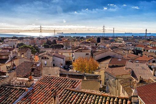 Roofs, City, France, Fos-sur-mer, Mediterranean