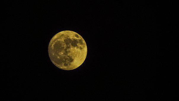 Moon, Full, Full Moon, Night, Sky, Dark, Space, Lunar