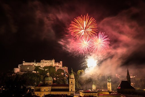 Salzburg, Fireworks, Night Photograph